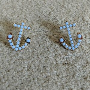 SALE! Light blue and gold anchor earrings